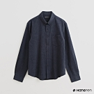 Hang Ten - 男裝 - 簡約素面棉質長袖襯衫 - 藍