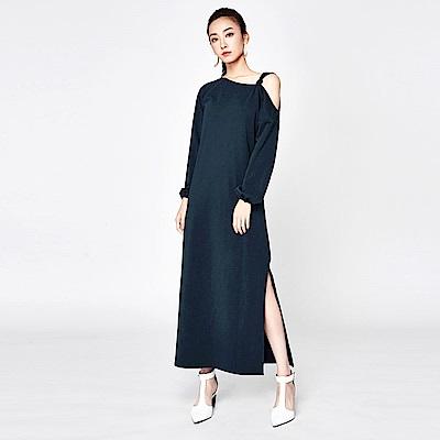 SUITANGTANG 露肩設計長版洋裝-藏青