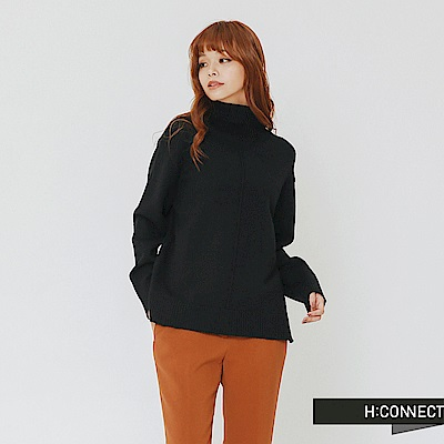H:CONNECT 韓國品牌 女裝-純色質感高領針織上衣-黑