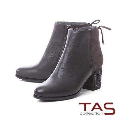 TAS素面麂皮拼接蝴蝶結繫帶粗跟短靴–暖灰咖