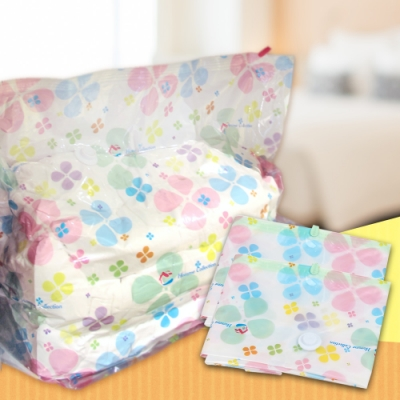 EZlife3D防塵潮彩印壓縮收納袋3入組(90*70*30cm)贈床單固定夾1組