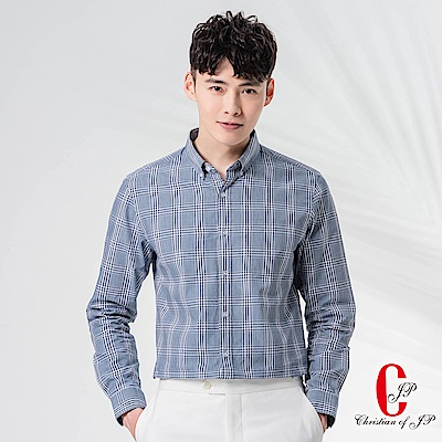 Christian率性摩登舒適襯衫_藍白格(RW807-58)