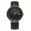 OBAKU 太陽能時尚環保皮革腕錶-黑(V222GRVBRB)/42mm