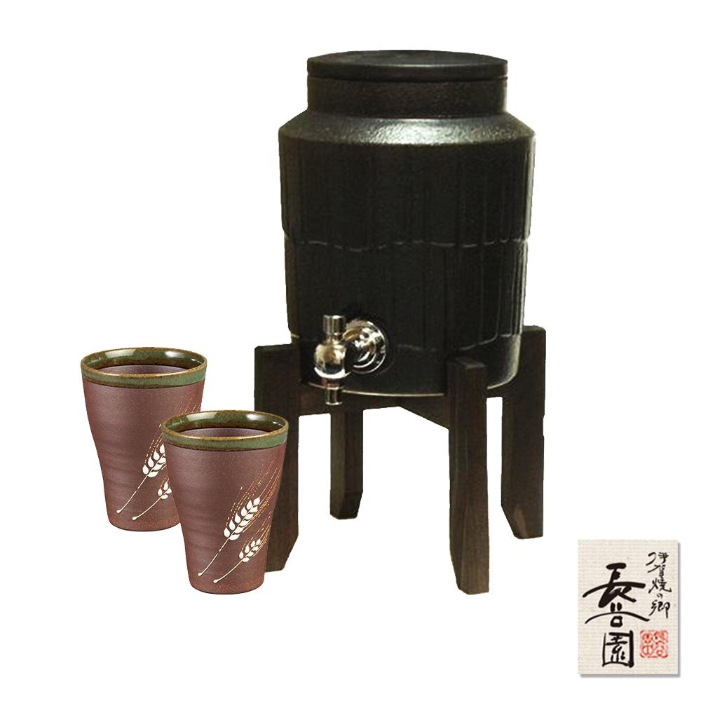 日本長谷園伊賀燒 遠紅外線負離子陶水壺2L(黑)贈日式陶土杯二入組