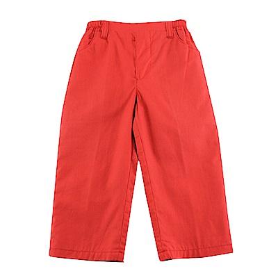 愛的世界 純棉半鬆緊帶島嶼樂園長褲-紅