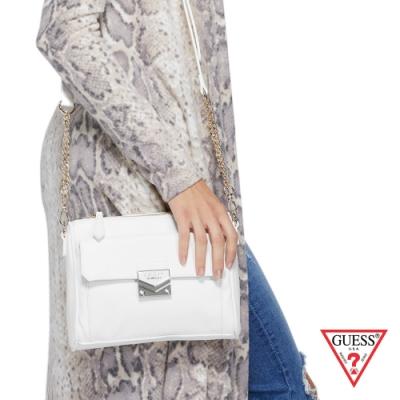 GUESS-女包-菱形壓紋純色鍊條單肩包-白 原價2290