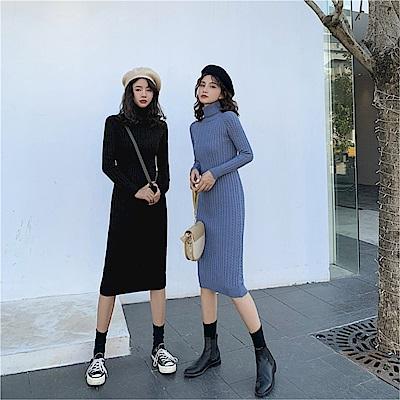 DABI 韓國風高領麻花針織針織修身顯瘦長袖洋裝
