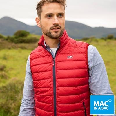 【MAC IN A SAC】男款輕暖袋著走羽絨保暖背心MNS120紅/輕量易收納攜帶