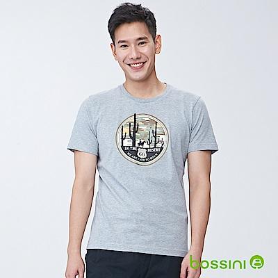 bossini男裝-印花短袖T恤08淺灰