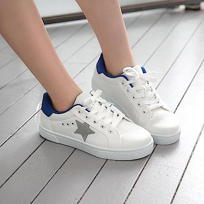 星星造型撞色純白帆布休閒鞋.3色-OB大尺碼