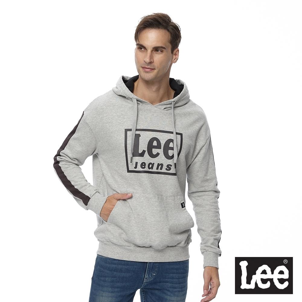 Lee 連帽厚T 方框logo 男 麻灰