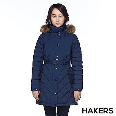【HAKERS 哈克士】女款 防潑羽絨外套(深藍)