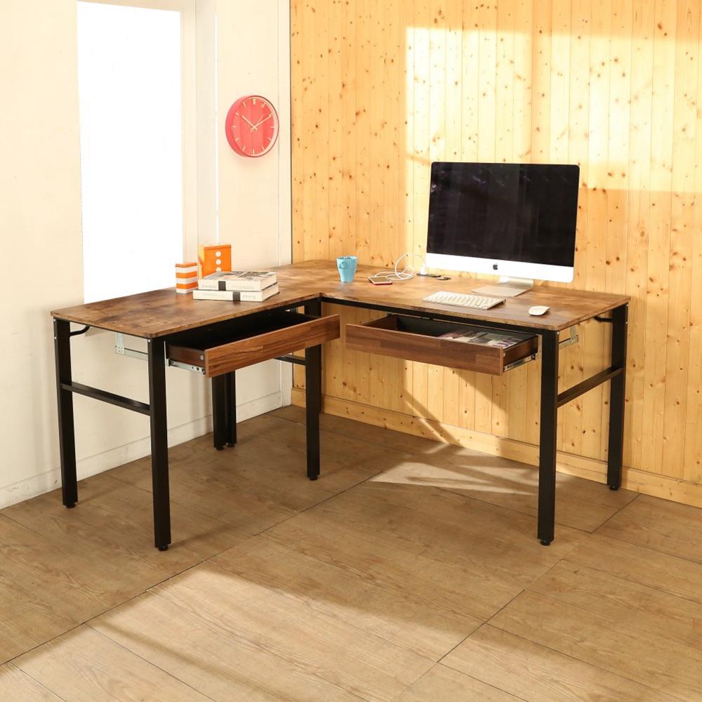 BuyJM低甲醛復古風L型160+80公分雙抽屜穩重附插座工作桌-DIY