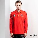 歐洲貴族 oillio 長袖POLO 經典款式 文字品牌刺繡 紅色