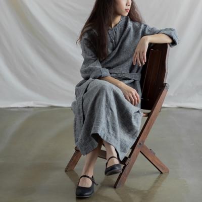 旅途原品_相見歡_色織棉麻連衣裙- 灰藍