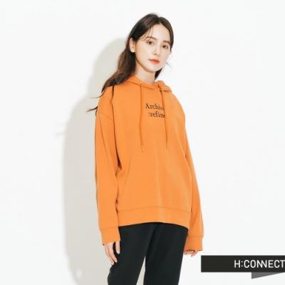H:CONNECT 韓國品牌 女裝-休閒抽繩印字帽T-橘
