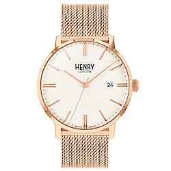 Henry London 英倫時尚米蘭帶手錶-白X玫瑰金框/40mm