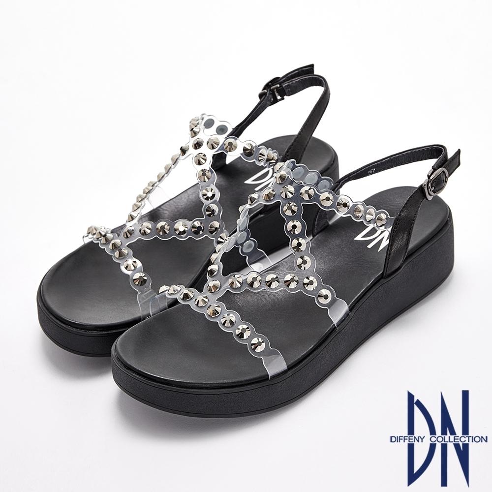 DN涼鞋_透視感線條水鑽交叉羅馬楔型涼鞋-黑