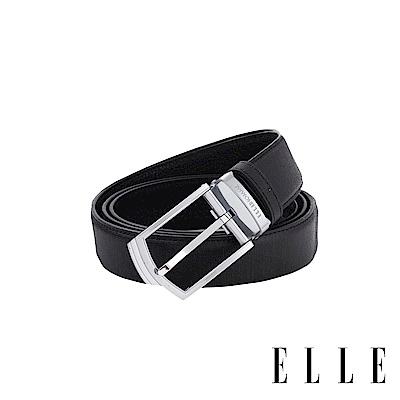 ELLE HOMME - 簡約方頭紳士針釦式真皮皮帶-銀色拉絲 EL307009