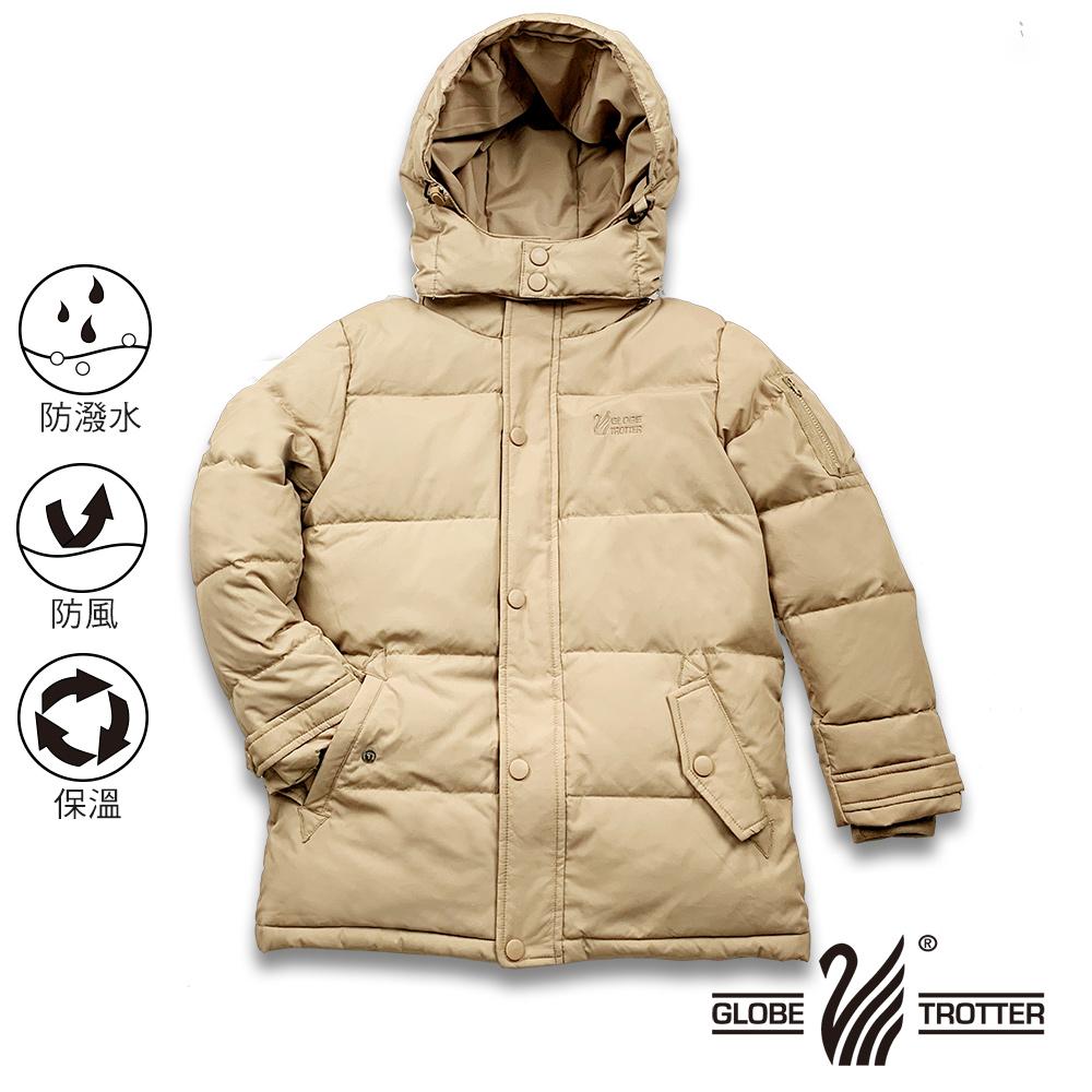 【遊遍天下】童款中長版防風防潑水90%羽絨可拆連帽外套GJ22019卡其
