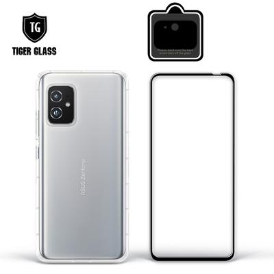 T.G ASUS ZenFone 8 (ZS590KS) 手機保護超值3件組(透明空壓殼+鋼化膜+鏡頭貼)