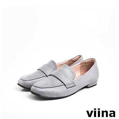 viina Basic 羊絨布素面樂福鞋 - 灰
