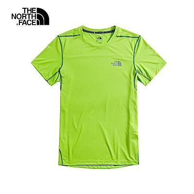 The North Face北面男款綠色吸濕排汗透氣短袖T恤|3VAH6X0