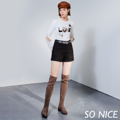 SO NICE簡約格紋腰帶麂皮絨短褲