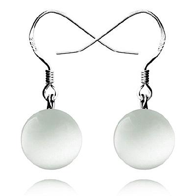 米蘭精品 925純銀耳環-貓眼石圓珠耳環