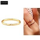SHASHI 紐約品牌 LOREN 金色素面戒指 鑲12白鑽設計 優雅百搭