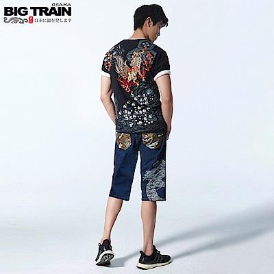 BigTrain 加大跨版海龍刺繡配布五分褲-男-深藍