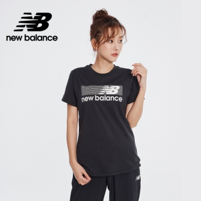 New Balance NB DRY 科技棉橫條Logo短袖上衣_女性_黑色_AWT01158BKK