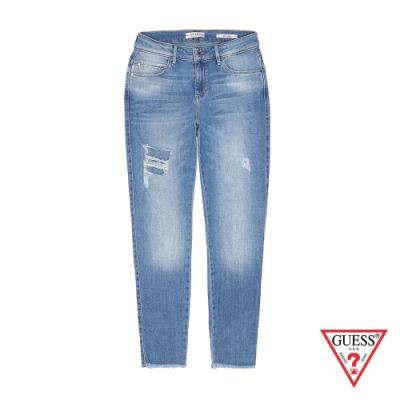 GUESS-女裝-刷白割破造型直筒牛仔褲-淺藍