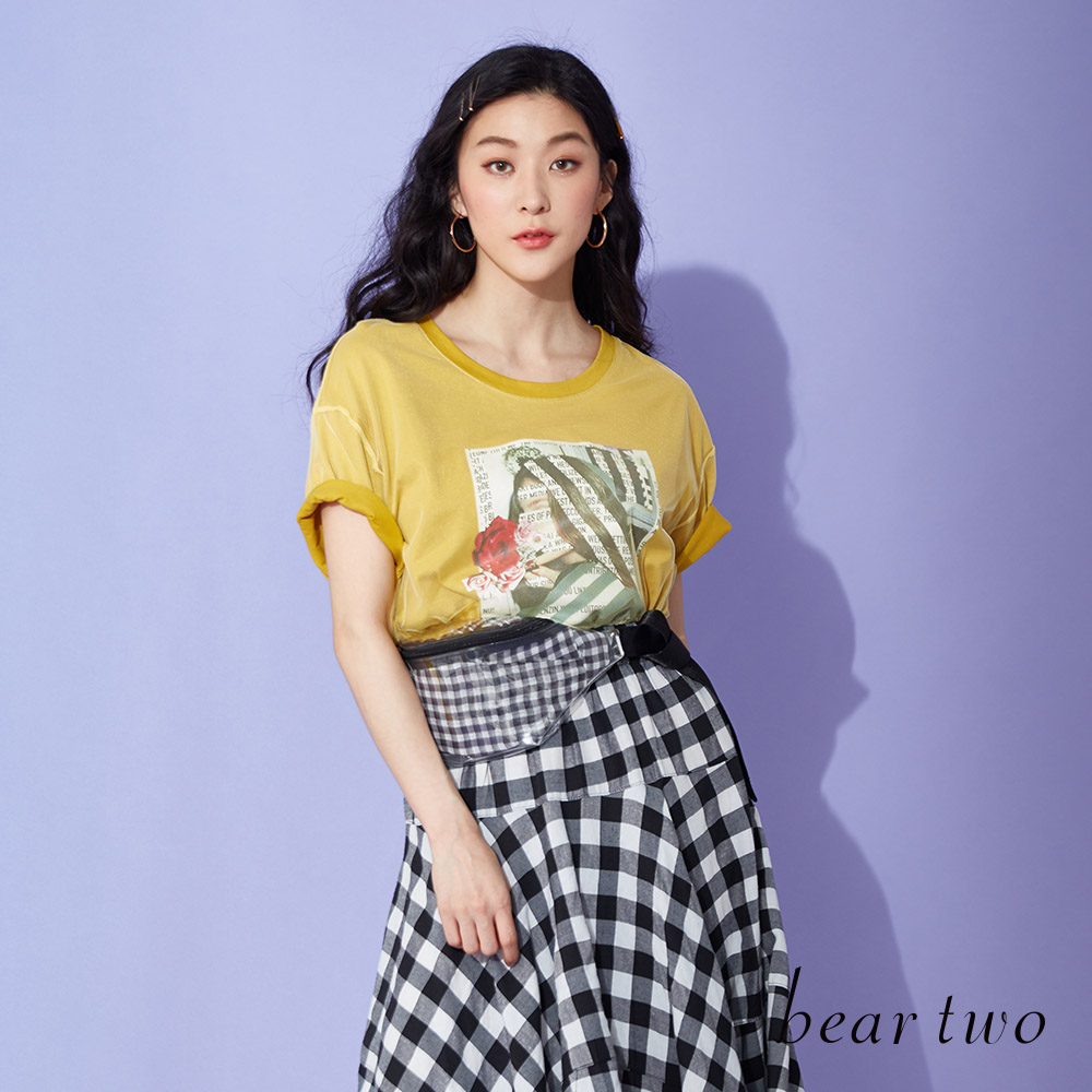 beartwo 雜誌風印刷網紗造型T恤(三色)