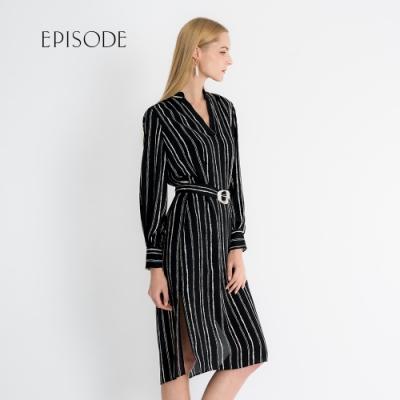 EPISODE - 氣質V領直條紋腰帶開叉洋裝