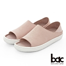 【bac】週末輕旅行 - 溫潤牛皮魚口多變兩穿式休閒鞋-粉紅色