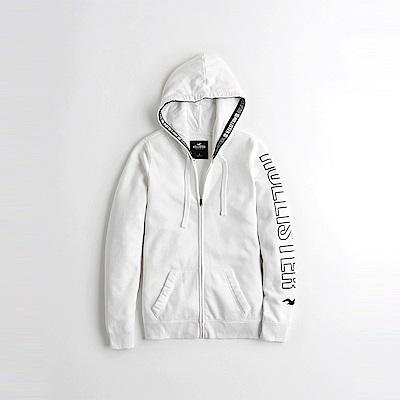 海鷗 Hollister HCO 經典印刷文字長版連帽外套(女)-白色