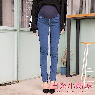 日系小媽咪孕婦裝-孕婦褲~星星滾邊口袋造型牛仔褲 S-XL