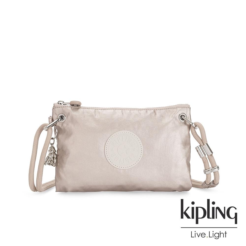 Kipling 都會時尚霧玫瑰金抽繩隨身斜背包-KNIPPA