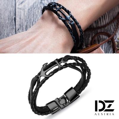 DZ 船錨飾編織 中性手環手鍊(黑革+黑錨系)