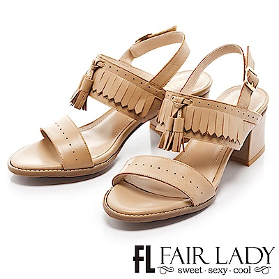 Fair Lady 波希米亞流蘇繫踝一字粗跟涼鞋 卡其