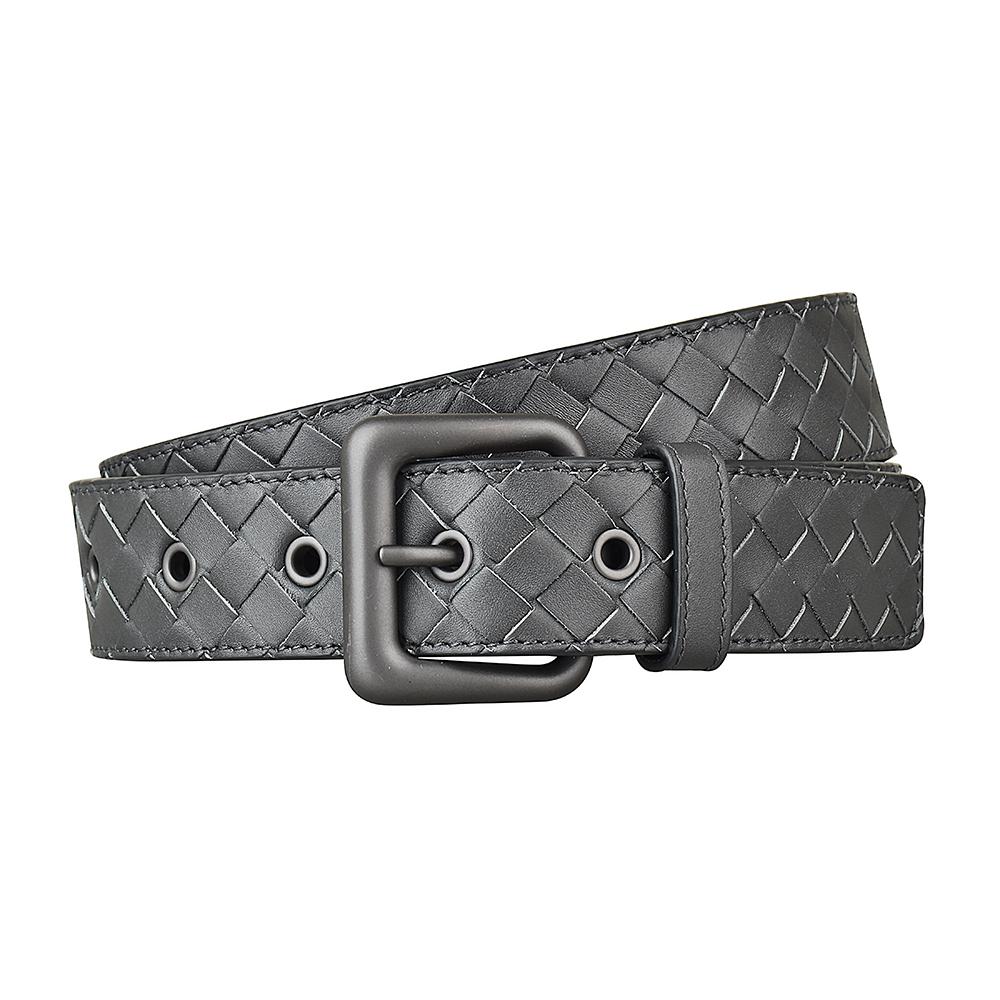 BV BOTTEGA VENETA經典編織寬扣設計小牛皮扣式皮帶(水墨灰)