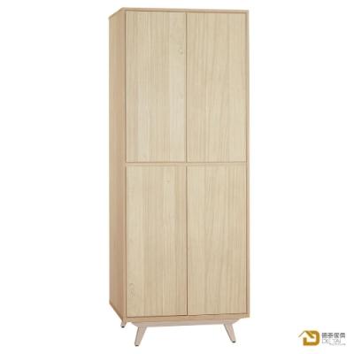 D&T 德泰傢俱 Rita北歐撞色風2.7尺四門衣櫃 寬81X深60X高198公分
