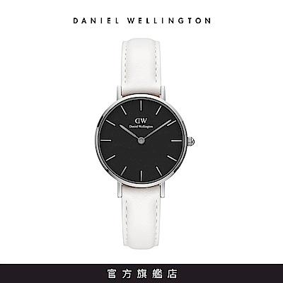 DW 手錶 官方旗艦店 28mm銀框 Classic Petite 純真白真皮皮革