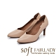 FAIR LADY Soft芯太軟真皮壓紋側v曲線尖頭高跟鞋 卡其 product thumbnail 1