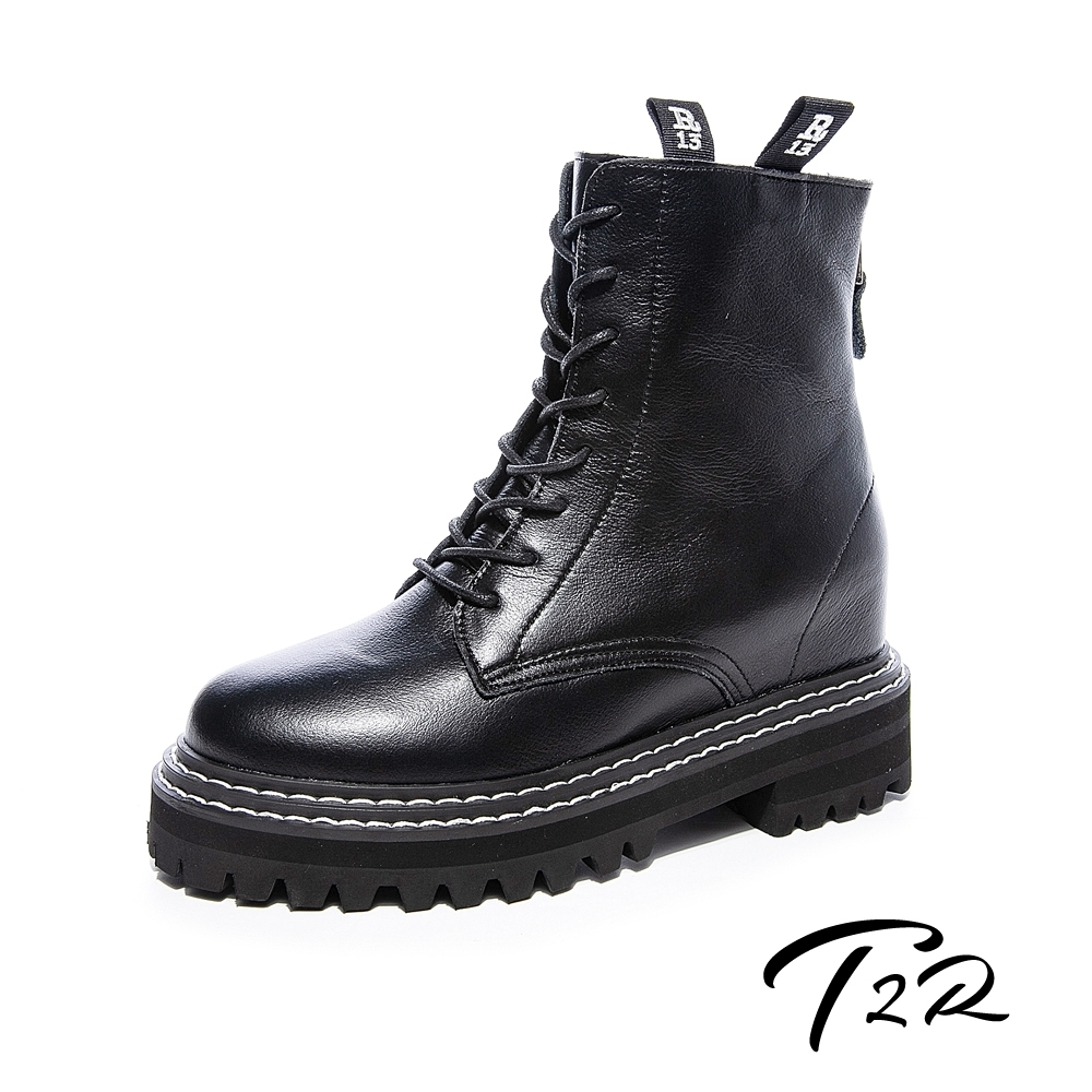 T2R-正韓空運-全真皮拉鍊款馬汀馬丁短靴-隱形增高8公分-黑