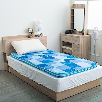 經典時尚英格蘭風格格紋冬夏兩用單人床墊-天藍格紋