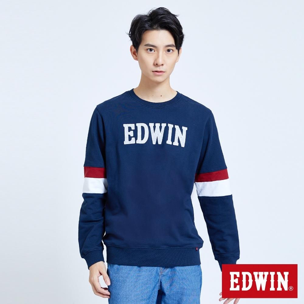 EDWIN 塗鴉系列 運動風配色厚長袖T恤-男-丈青