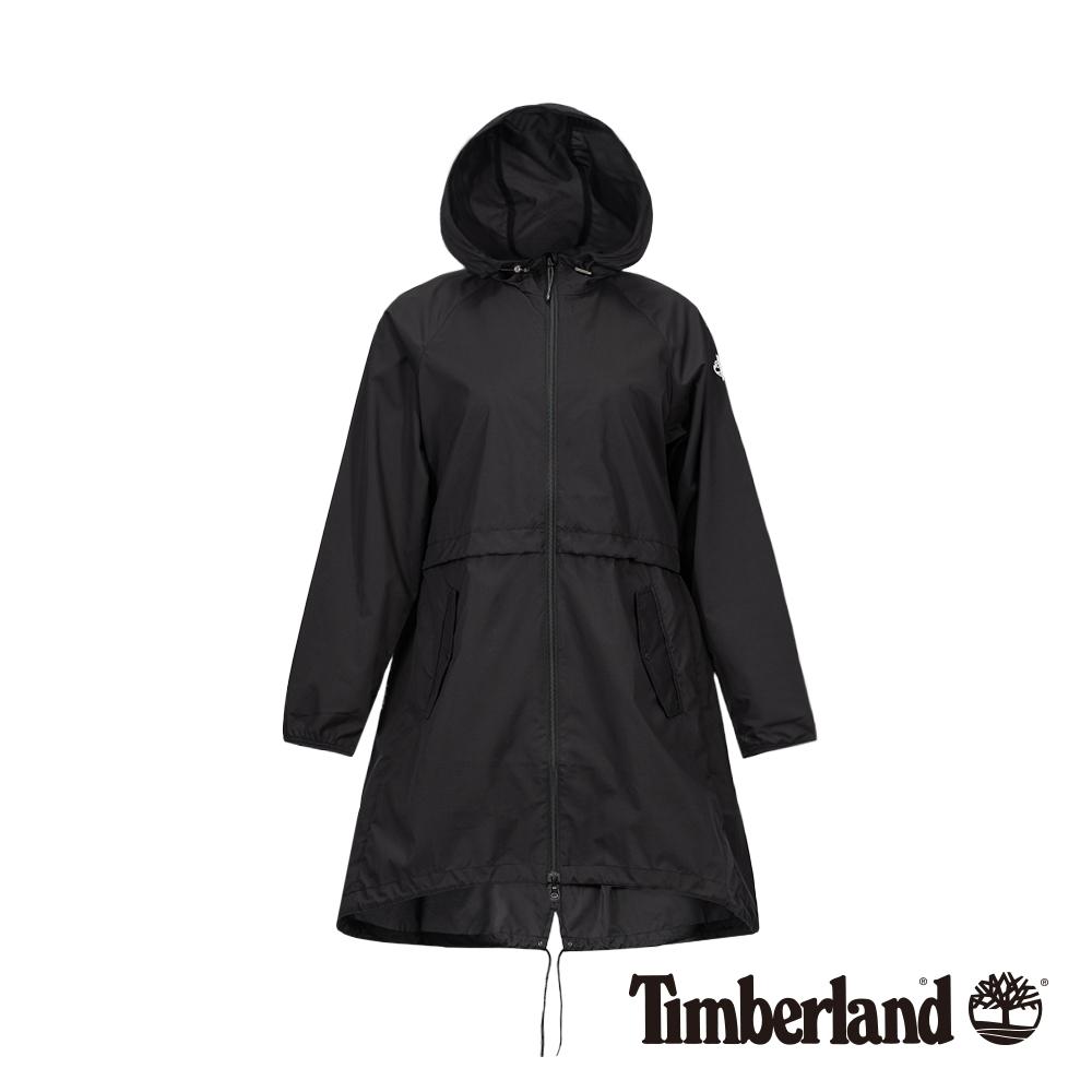 Timberland 女款黑色可收納防曬輕質長版派克大衣|B3110