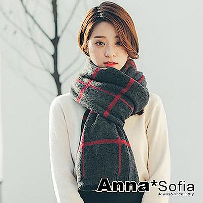 【2件69折】AnnaSofia 手感毛料絨格 厚織仿羊絨大披肩圍巾(深灰系)